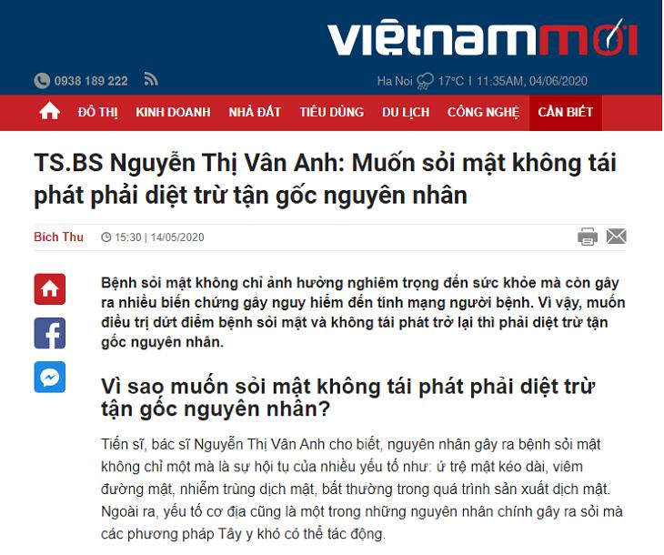 Báo chí đăng tải thông tin về bài thuốc Nhất Nam Tiêu Thạch Khang