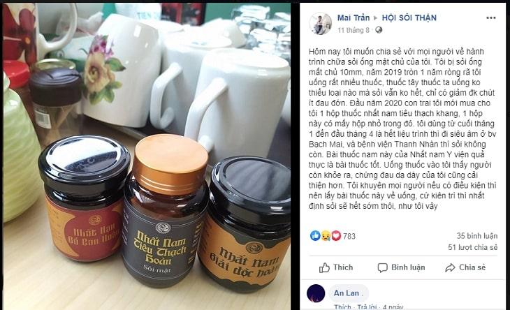 Chia sẻ của khách hàng sau khi điều trị sỏi ống mật chủ bằng bài thuốc Nhất Nam Tiêu Thạch Khang đặc trị sỏi mật